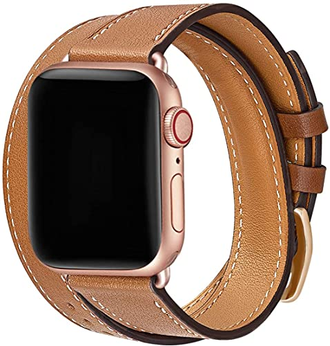 Compatible with Apple Watch Strap 42/44/45mm Slim Genuine Leather Replacement Double tour WristBand for iWatch SE Series 7/6/5/4/3/2/1 (42/44/45mm, Double Tour-Brown)