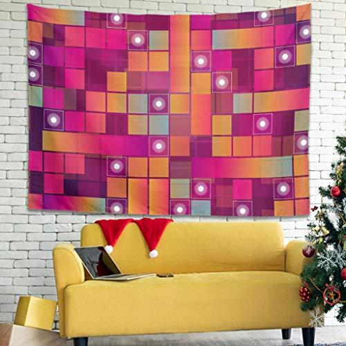 WellWellWell Tapiz de pared con forma de cuadrados, multicolor, 100 x 150 cm, color blanco