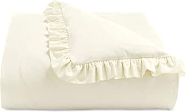Martha Stewart Collection Luxury Portuguese Flannel Ruffle Twin Duvet Cover Ivory