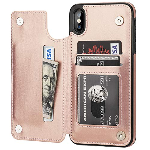 iPhone 7//iPhone 8 Rose Gold iPhone 8 Wallet Case with Card Holder,OT ONETOP iPhone 7 Case Wallet Premium PU Leather Kickstand Card Slots,Double Magnetic Clasp and Durable Shockproof Cover 4.7 Inch