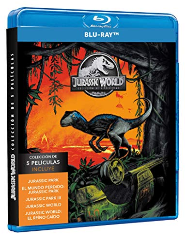 JURASSIC WORLD COLLECTORS STEELBOOK 5-MOVIE COLLECTION (Jurassic Park +The Lost World +Jurassic Park III +Jurassic World +Jurassic World Fallen Kingdom) English, Spanish & Portuguese Audio & Subtitles