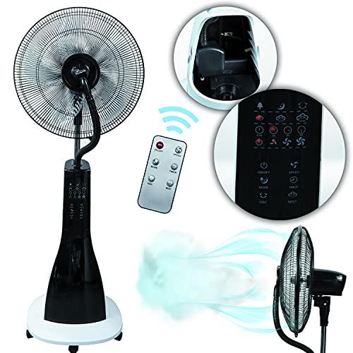 Tronitechnik Stand-Ventilator mit Wasser-Kühlung Sprühnebel Raumbefeuchter, Fernbedienung, 90 Watt, Oszillierend, 3 Geschwindigkeitsstufen, Timer, 3 Belüftungsmodi, sehr leise für Schlafzimmer