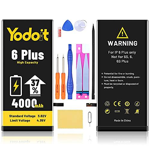 Yodoit Batteria per iPhone 6 Plus Alta Capacità 4000mAh, 37% di aumento della capacità della batteria, Batteria di Ricambio con Kit Sostituzione, Cacciavite Strumenti