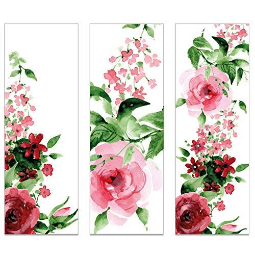 12er Set Lesezeichen Rose I 3 Motive I für Frauen I vintage aquarell Blume rosa rot grün I dv_434