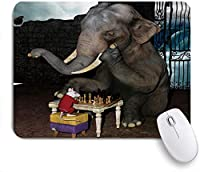 NINEHASA 可愛いマウスパッド 動物の象とマウスのチェスをする ノンスリップゴムバッキングコンピューターマウスパッドノートブックマウスマット