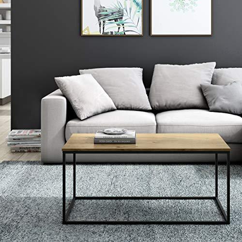 Mc Haus MARA - Mesa de Centro Salón Rectangular de Madera natural y Estructura de Metal color Negro, Mesita de Comedor diseño Nórdico 101x50x45cm