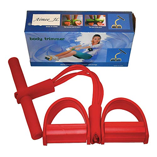 Aimmee-JL Elastisches-Sit-up-Zugseil mit 4 Widerstandsschläuchen und Fußpedal, Bauchtrainer, Fitness, Yoga, rot