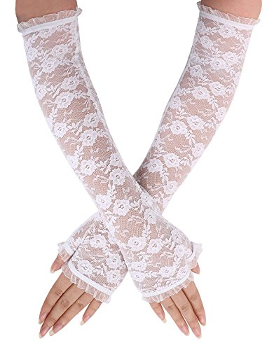 AshopZ Women's Party Sexy Lace Wedding Dress Long Fingerless Glove,White