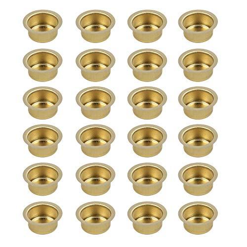 Kerzeneinsatz aus Metall, Durchmesser 12 bis 40 mm, Kerzentülle Kerzenhalter aus Metall für Baumkerzen, Puppenkerzen, Pyramidenkerzen Tafelkerzen und Teelichter, Teelichthalter, 24 Stück (17 mm)