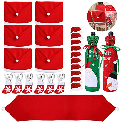 25PCS Christmas Dinnerware Set for 6 Kitchen Dinner Table Decorations Santa Claus Hat Table Runner Chair Back Covers Wine Bottle Cover Bags Cutlery Bags for Xmas Party Table Decor