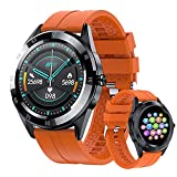 Smart Watch Fitness Tracker for Android Phones and iOS Phones Touch Screen IP67 Waterproof Sports Activity Tracker Fitness Tracker with Heart Rate Sleep Monitor Message Reminder for Men Women (Orange)