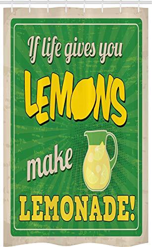 ABAKUHAUS Gezegde Douchegordijn, Als het Leven u geeft Lemon, voor Douchecabine Stoffen Badkamer Decoratie Set met Ophangringen, 120 x 180 cm, Groen Geel en Tan