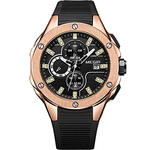 MEGIR Reloj de pulsera analógico de cuarzo para hombre, con cronógrafo, resistente al agua, color oro rosa, negro, esfera redonda con negocios, correa de silicona negra