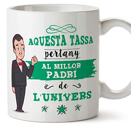 MUGFFINS Taza Padrino (En Catalán) -'Aquesta Tassa Pertany al Millor Padri de l'Univers' - Taza Desayuno/Idea Regalo Día de Pascua. Cerámica 350 mL