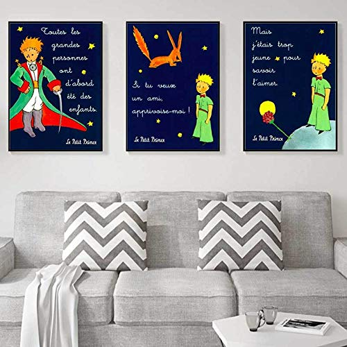 QZROOM El Principito Pintura Palabras en Libro Pinturas clásicas en Lienzo Carteles de Pared Vintage Decoración para el hogar Regalo Arte Moderno Decoración de pared-40x60cmx3 Sin Marco