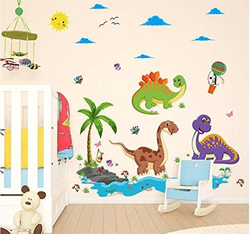 HALLOBO® Wandtattoo Dinosaurier Stegosaurus Drache Jurassic Park Wandaufkleber Wandsticker Wall Sticker Wohnzimmer Schlafzimmer Deko Babyzimmer Kinderzimmer Kinder Baby