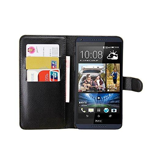 Tasche für HTC Desire 816 Hülle, Ycloud PU Ledertasche Flip Cover Wallet Hülle Handyhülle mit Stand Function Credit Card Slots Bookstyle Purse Design schwarz