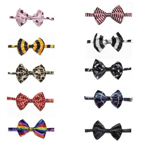 Gogo Paquete de 10 Corbatas de Mascota, Collar de Pajarita Ajustable de Perro, Accesorios para Disfrazar Gato de Fiesta, Mezcla de 10 Estilos, Serie 1