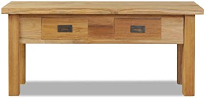 Brown Benzara BM185376 Modern Wooden Bench with Drawers