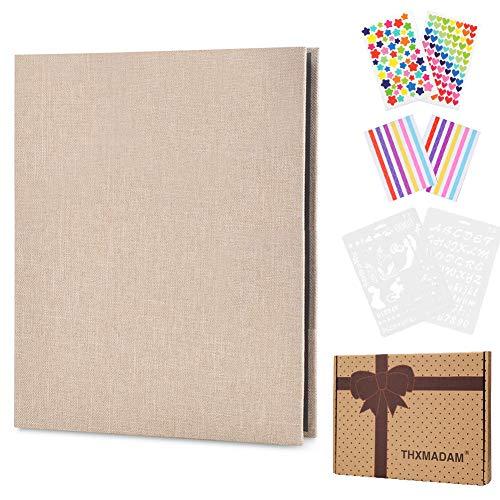 ThxMadam Lino Álbum de Fotos Scrapbook Libro de Visitas de Boda con 60 Páginas Negras Presentes para Regalo de Valentín Día de Aniversario Navidad Cumpleaños para Esposa Hija Madre