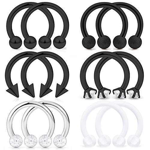 Hoeudjo Septum Hoop Nose Ring 16G Surgical Steel Circular Horseshoe Rings Piercing Jewelry with Cubic Zirconia Cartilage Helix Earring Barbell Retainer for Women Men 12 Pieces 8mm Black