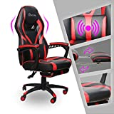 Video Gaming Chair Racing Recliner - Ergonomic Adjustable Padded Armrest Swivel High Back Footrest with Headrest Lumbar Support Leather Breathable Bucket Cushion Home Computer BIFMA (Red Massage)