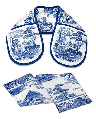 classique bleu Italien floral bleu blanc gant cuisine double & Torchon SET