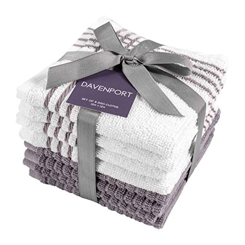 KAF Home Davenport 100 Cotton Dish Cloths  Set of 8 12 x 12 Inches  Absorbent and Machine Washable  Perfect for Cleaning Counters and Any Household Spills Gray 12 x 12