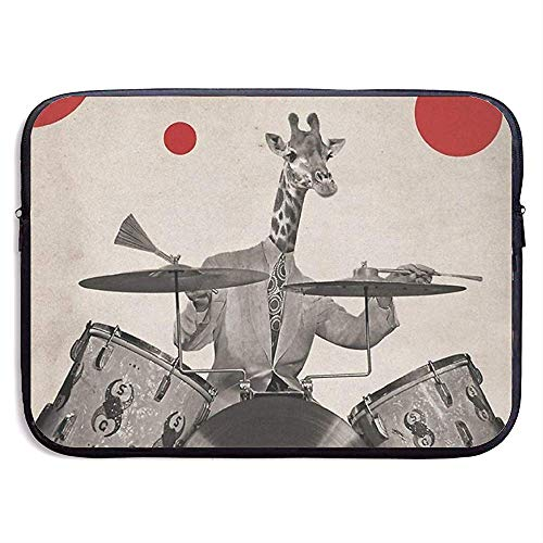 Waterdichte Computer Tas, Laptop Sleeve Hoes, Zakelijke Aktetas Mes, Giraffes Play Drums Abstract Art Style Retro Laptop Sleeve Tas, Tablet Case Hoes, Compatibele Notebook Bag Case