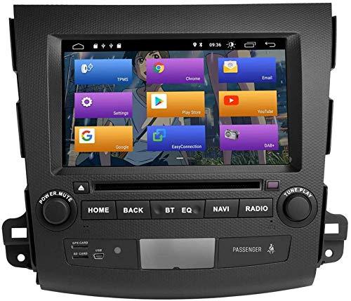 WGFGXQ para Mitsubishi Outlander 2007-2011 Android 10.0 Doble DIN Navegación GPS Multimedia para automóvil Auto Radio Estéreo Soporte Auto Play/TPMS/OBD / 4G WiFi/Dab/SWC