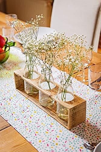 Herbstdeko – Vase aus Holz von Obstkiste mit Glasflaschen