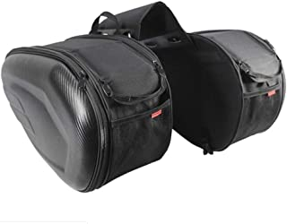 Prom-near Motorcycle Tail Bag Carbon Fiber Case Waterproof Motorcycle Box, Locomotive Bag Long-Distance Travel Large Capacity Tail Package, Large-Capacity Widened Design Saddle Bag, 18.117.4811.81