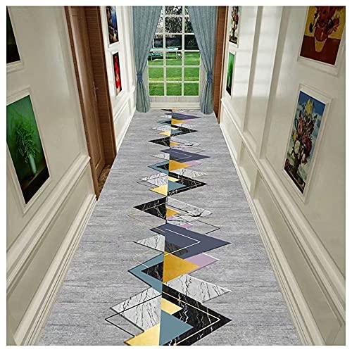 HDGZ Pasillo Alfombra para Corredor Moqueta por Metros,geométrica Formas Multicolor,Alfombra De Decoración De Entrada De Dormitorio De Sala De Estar Fácil De Limpiar (Color : D, Size : 60x400cm)