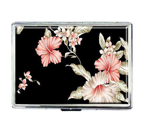 Cigarette Case Storage Case Box Stylish Credit Business Card Holder Case Box Unique Stainless Steel Silver (Rose Flowers Vintage)