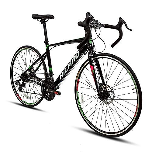 Hiland Road Bike for Women 700c Racing Bike City Commuter Bicycle with Disc-Brake 21 Speeds Drivetrain 49cm Black