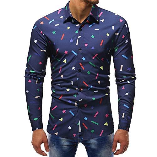 FRAUIT hemd heren modieus gedrukt shirt met lange mouwen mannen slim fit T-shirt prachtig design warm ademend comfortabel business vrije tijd party reizen dansfeest M-3XL