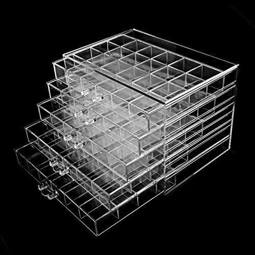 LIUJUAN Joyero Femenino Personalizado Caja Almacenamiento Joyas Uñas Caja Joyería 5 Capas Caja Diamantes 120 Rejillas Caja Almacenamiento Joyas Caja Cajones Transparente-(Transparente)