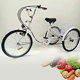 Triciclo Adult Shopping Transport Carro de la compra Basket City Carro de la compra 24 pulgadas para personas mayores, bicicleta de 6 velocidades Triciclo lámpara