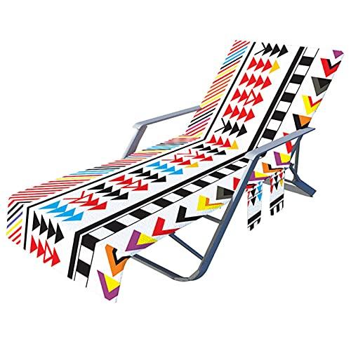 Xiaorong Funda de silla de playa con bolsillos laterales de microfibra para tumbonas, hoteles, no deslizantes de 209,8 x 72,8 cm