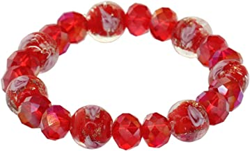 Flower Amber Glaze Stretch Cord Bracelet Faceted Crystal Spacer Beads Charm Bangle Cubic Zirconia Contractable Wristlet Rondelle Beads Elastic Rope Circlet Fashion Wristband For Women Girls Lady