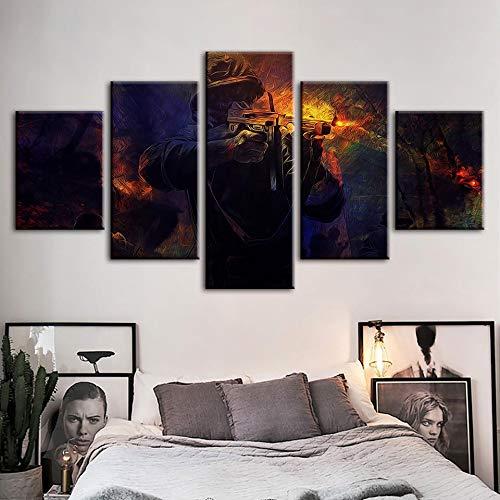 WJDJT 5 Stuks Art Print Schilderij Canvas, Canvas Prints Spel Rol Foto's Schilderijen Op Doek Muur Kunst Voor Woonkamer Slaapkamer Woonkamer Decoraties 150X80Cm