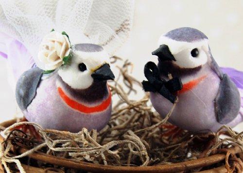 Love Nest Love Bird cake topper: 'sposa e sposo torta nuziale in lavanda viola e grigio