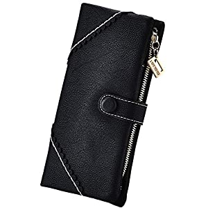 Women Vegan Leather Wallet Bifold Clutch Large Capacity Card Organizer Buckle Long Purse for Girls Candy Color 32