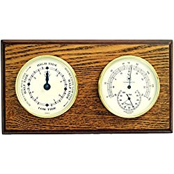 Bey-Berk WS120 Tide Clock and Thermometer with Hygrometer on Oak Wood with Brass Bezel. Wall Mounts Vertically or Horizontally, Brown