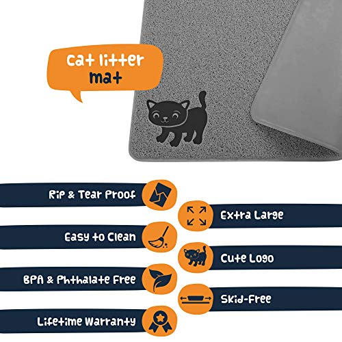 Smiling Paws Pets Extra Large Kitty Litter Mat - Cat Litter Box Trapping Pad - Heavy-Duty Non-Slip Pet Rug - Tear & Scratch Proof - Easy to Clean Kitty Litter Catcher - Gray XL Size 35