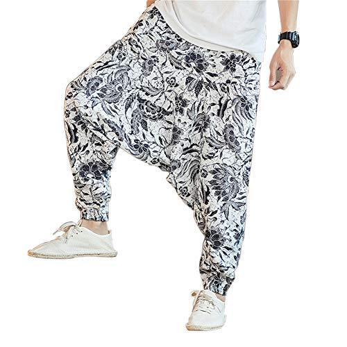 MISSMAOM_Fashion2019 Herren Hippie Haremshose Sarouel Aladinhose Pumphose Pluderhose Drop Crotch Baggy Aladin Goa Thai Fischerhose,L,