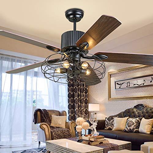 GAOXQ Ventilador de Techo Industrial de 52 Pulgadas Luz Retro Vintage Fan Chandelier E27 Iluminación Interior Araña de decoración (Bulbo no Incluido)