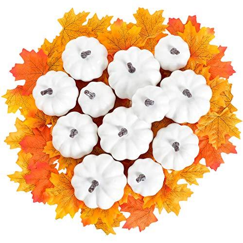 YQing 62 Stück Gefälschte Kürbisse Ahornblatt Dekorations Set, Künstlich Kürbis Herbstlaub Dekoration Halloween das Erntedankfest Herbst Weihnachtsdekoration