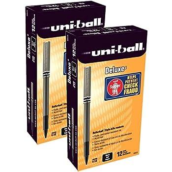 uni-ball - Deluxe Roller Ball Stick Waterproof Pen Black Ink Micro - Dozen