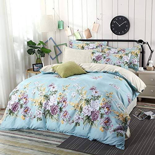 BSTLY Bettwäsche Baumwolle Gestreift Einfach Gedruckt Reißverschluss Kissenbezug Bettbezug 4 teilig Magnolia Bettbezug 220x240cm Bettlaken 230x250cm